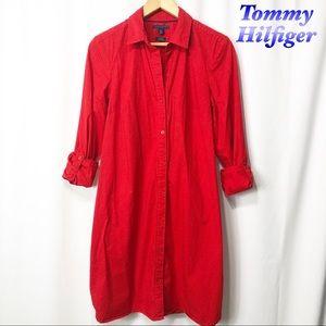 Tommy Hilfiger Red White Navy Polka Shirt Dress M